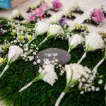 עמדת שזירת פרחים לחתונה